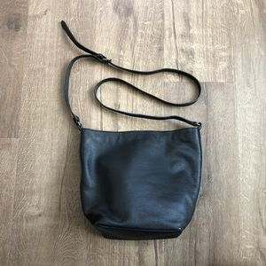 Lucky Brand Black Leather Bucket Crossbody Bag
